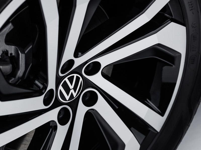 "An angled Volkswagen GLI 18"" twin 5-spoke machined alloy wheel."