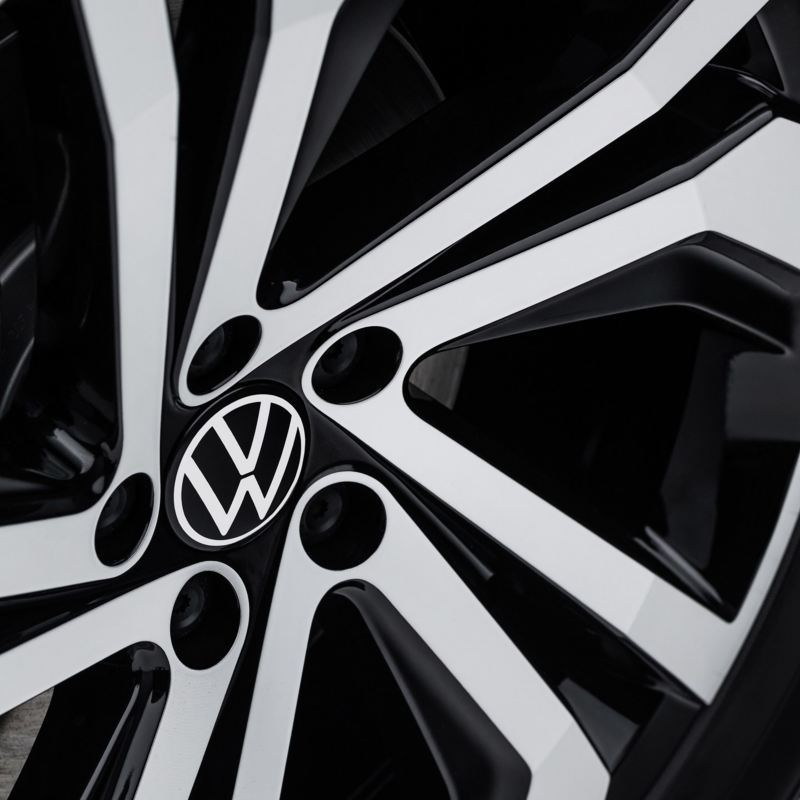 "An angled Volkswagen GLI 18"" twin 5-spoke machined alloy wheel."