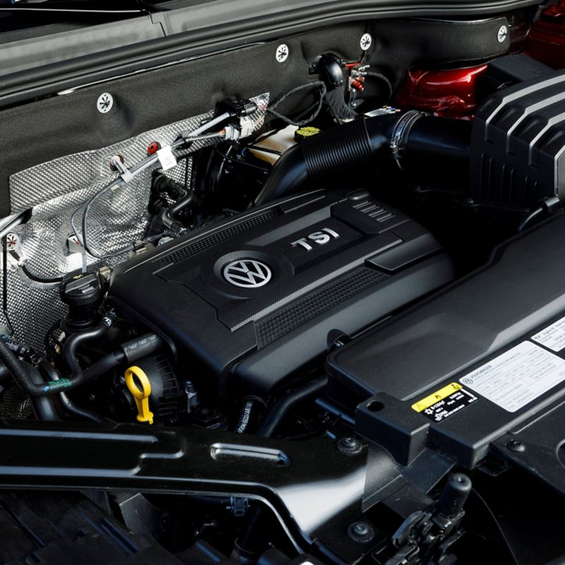 A close up of a Volkswagen TSI engine.