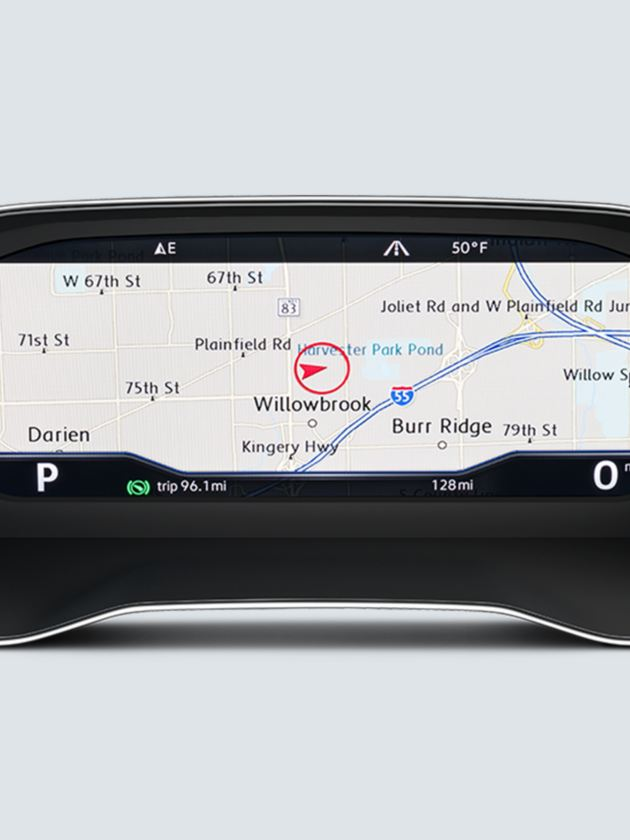 The available full screen navigation view of the VW Digital Cockpit.