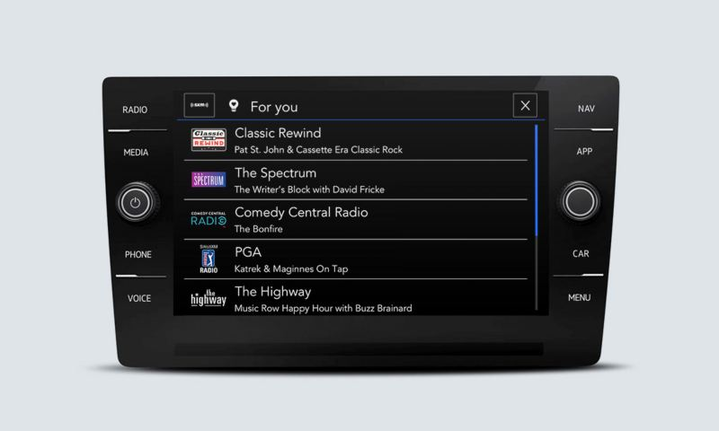 SiriusXM touchscreen interface showing For You options, based on your listening preferences and favorites.